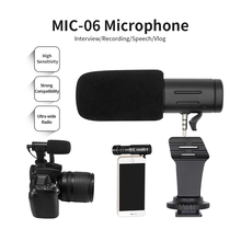 Recording Microphone 3.5mm Audio Plug Camera Microphone Portable Video Interview Microphone for Smartphone Camera