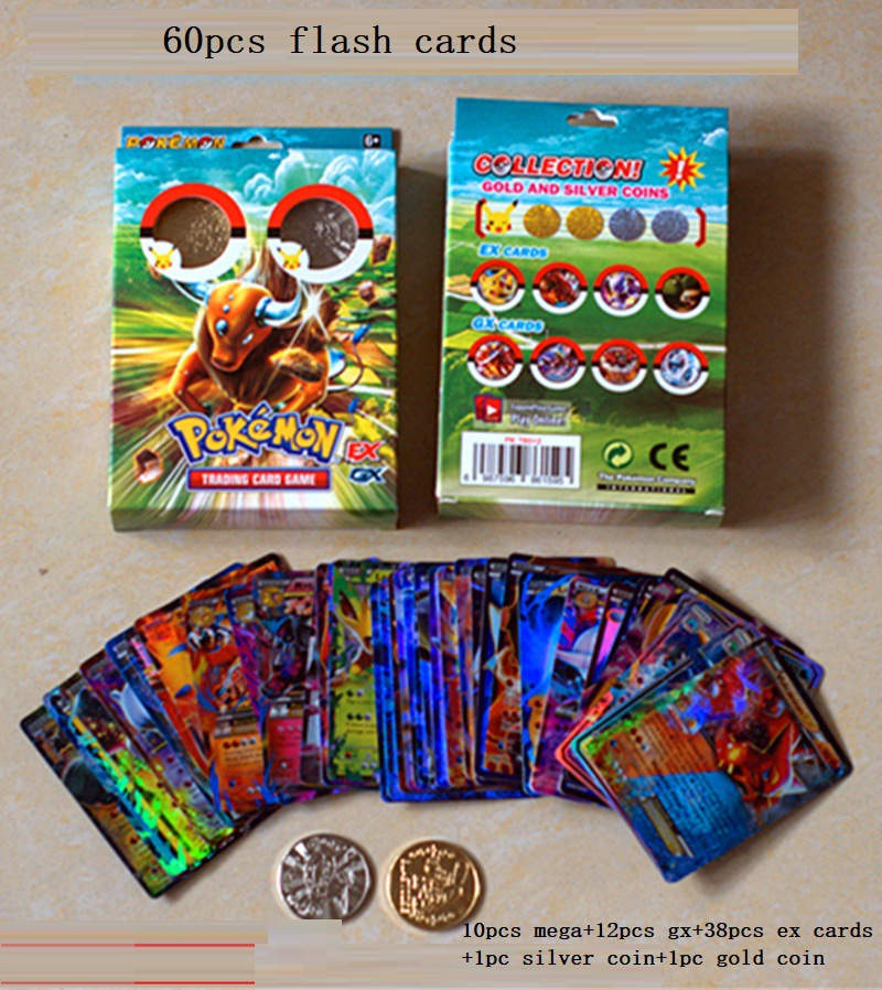 60 Sheets Sets  English Pocket Monster POKEMON EX GX Flash Card Gold And Silver Commemorative Coin English Card