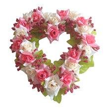 Горячие в форме сердца венок из искусственных цветов двери украшения Висячие венки с шелковой лентой для украшения свадьбы 22x21x3