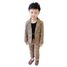Flower Boys Wedding Tuxedo Suit Kids Formal Jacket Pants 2Pcs Clothing Set Children Host Dance Party Performance Dress Costume