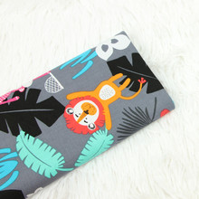 Lovely Animal Printed Cotton Plain Fabric Breathable Pure Cloth DIY Sewing Quilting Material Childish Style