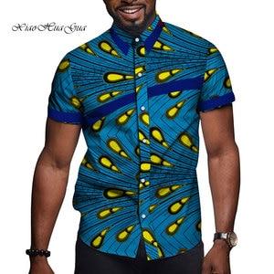 Image 5 - 아프리카 남자 옷 Bazin Riche 인쇄 인과 파티 남자 짧은 소매 탑스 셔츠 Dashiki Ankara WYN714