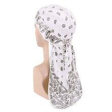 Cabeça de lenço de seda de seda de seda durags de seda de impressão de design de paisley