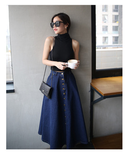 Image 3 - تنورة طويلة للسيدات بألوان سادة من قماش الدنيم على طراز بريبي كوري مواكب للموضة لعام 2020 ، تنورة عالية الخصر للنساء بحاشية كبيرة ، كاجول بسحّاب ، تنورة بأزرار
