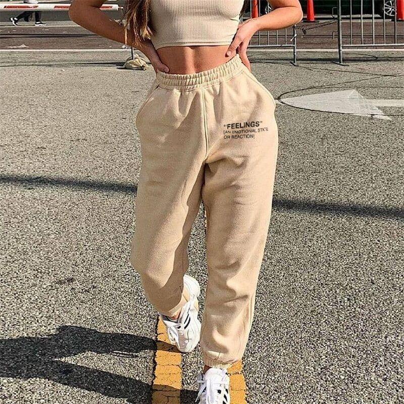 Женские брюки-багги с высокой талией, спортивные брюки в стиле Харадзюку, джоггеры с широкими штанинами, уличная одежда большого размера, же...