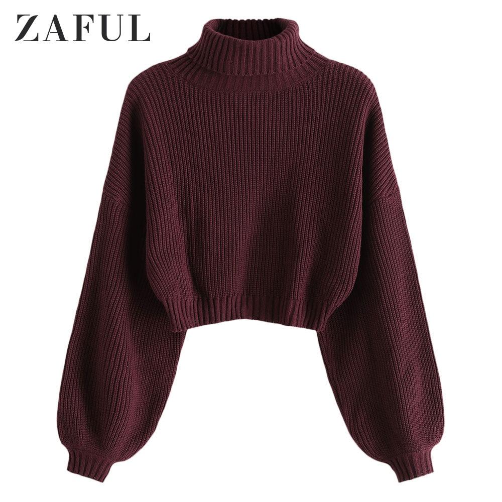ZAFUL Turtleneck Long Lantern Sleeve Cropped Sweater Roll Neck Drop Shoulder Solid Jumper Short Elastic Women Pullovers Sweater