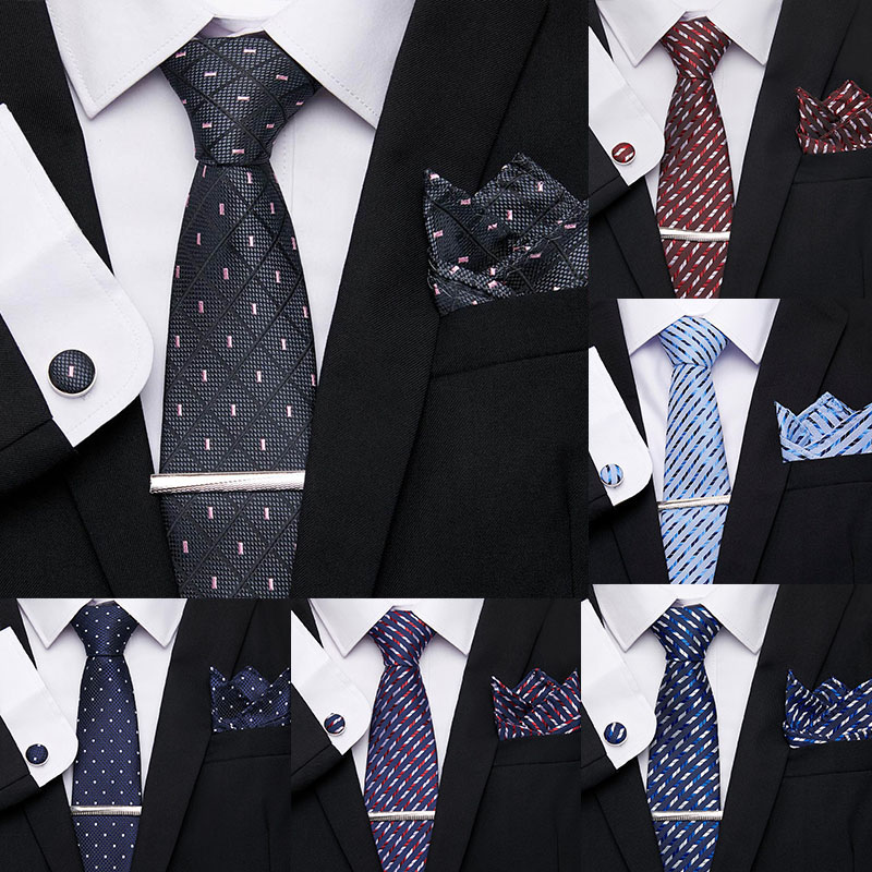 Vangise Men`s Classic Tie 7.5cm 100% Silk Dot Stripe 52 Styles Tie Hanky Cufflinks Sets Men`s Formal Dress Wedding Party Necktie
