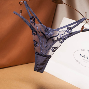 Sexy Lace Floral Thong Double Straps 19