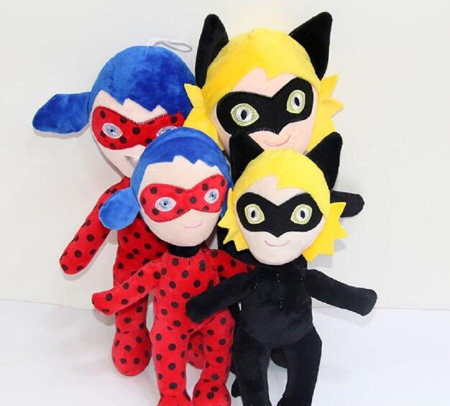 30cm/20cm/15cm 29cm Ladybug Girls Mask Cartoon Doll Super Cat Noir Figure Doll Baby Kids Plush Toys Christmas Gift