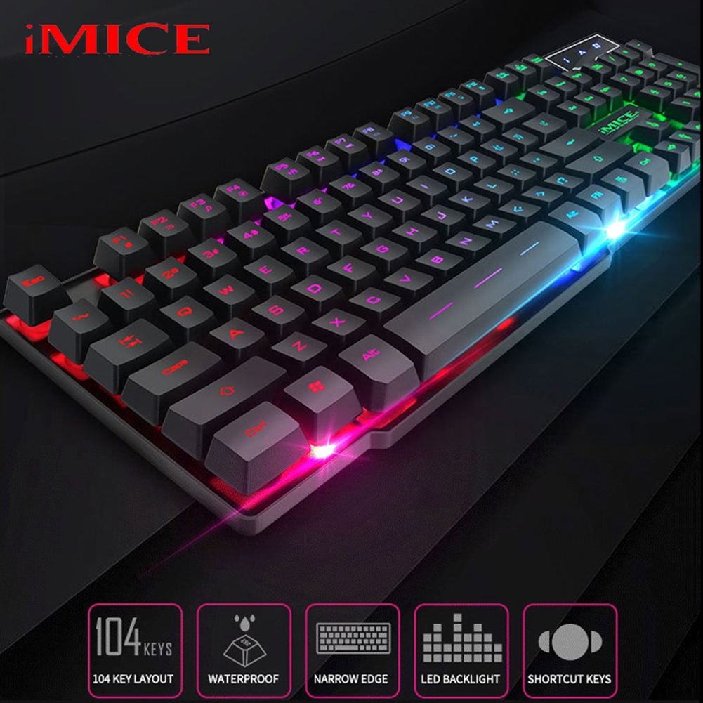 Gaming Mechanical Keyboard Blue Red Switch 104key Anti-ghosting RGB Mix Backlit LED USB Wired Keyboard For Gamer Tablet Desktop image