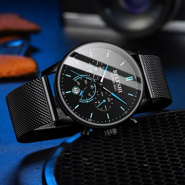 Фото часы наручные belushi мужские кварцевые модные роскошные брендовые