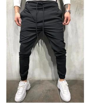 Fitness pants sports pants casual solid color drawstring pants 2020 new men's sports pants foot pants new 2020 mx pants