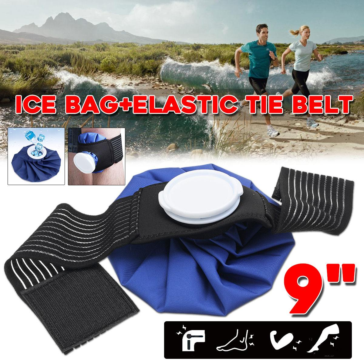 NEW 9'' Ice Bag Pack W/Protector Elastic Tie Belt Set Reusable Knee Head Leg Injury Pain Relief Ice Bag Health Care First Aid