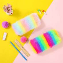 Plush Pencil Bag Student Large Capacity Stationery Storage Pencil Case Soft Pen Cosmetic Makeup Pouch Coin Holder Wallet Gift стоимость