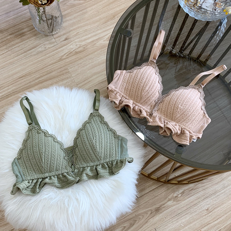 Roseheart Autumn Women Fashion Green Wireless Female Bras Lace Padded Bra Set Lingerie Bralette Underwear Cup A B Front Closure in Bras from Underwear Sleepwears