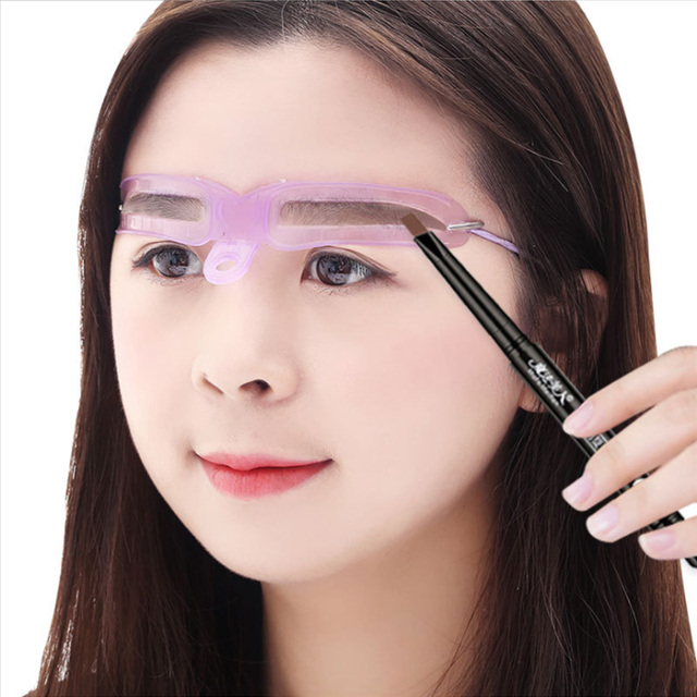 8 In1 Reusable Eyebrow Stencils Purple Eyebrow Shape Defining Template Helper Grooming Kit Makeup Tools Eye Brow Shaper 1