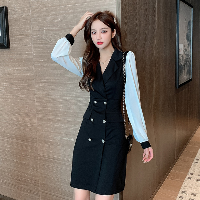 COIGARSAM Office Lady Full Sleeve Women one-piece dress korean New Spring Solid Notched Double Breasted Dresses Black 862 2