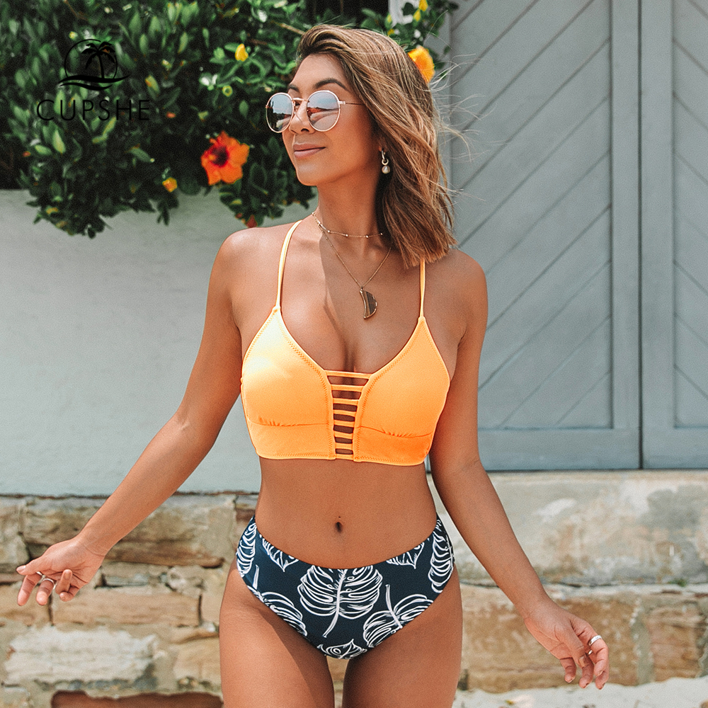 CUPSHE Yellow And Leaves Print Lace-up Bikin Sets Swimsuits 2020 Women Sexy Two Pieces Bathing Suits Swimwear