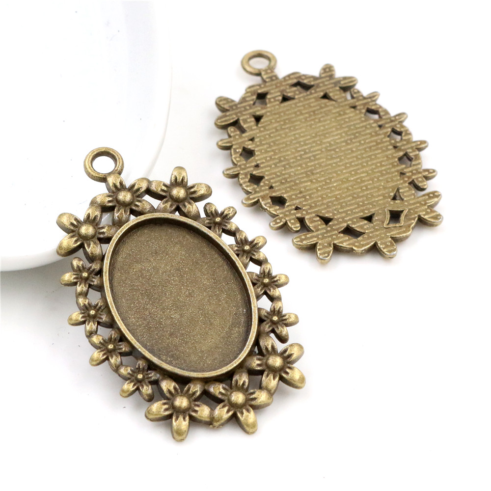 4pcs 18x25mm Inner Size Antique Bronze Fashion Style  Cameo Cabochon Base Setting Charms Pendant Necklace Findings (C3-46)