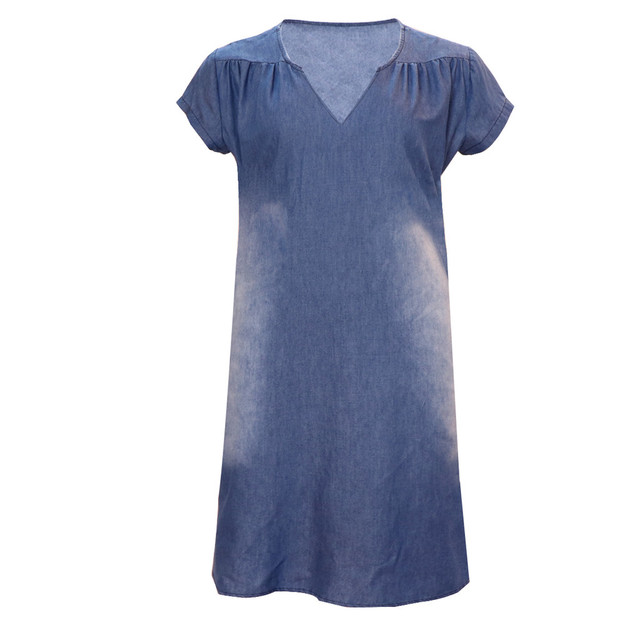 Women's Summer Cotton Dress Female Casual V Neck Denim Long Party Dresses Solid Color Short Sleeve Comfortable Loose Dress 5