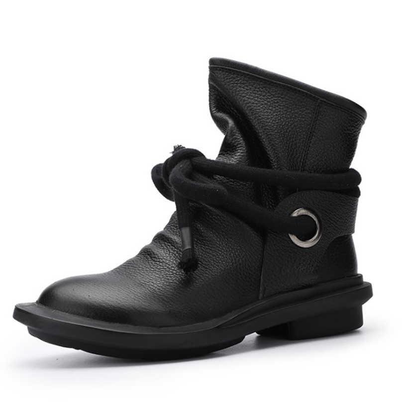 Retro Stil Kuh Full Grain Natürliche Leder Stiefeletten Schuhe Frauen Schuhe Braun Runde Zehen Reiten Schuhe Für Frauen Winter 19