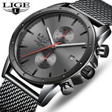 Męskie zegarki Top Luxury Brand LIGE zegarek biznesowy mężczyźni chronograf pełny stalowy wodoodporny analogowy zegarek kwarcowy męski zegar + pudełko tanie tanio 25 5cm Moda casual QUARTZ 5Bar Klamra CN (pochodzenie) STAINLESS STEEL 14mm Hardlex Kwarcowe Zegarki Na Rękę Papier