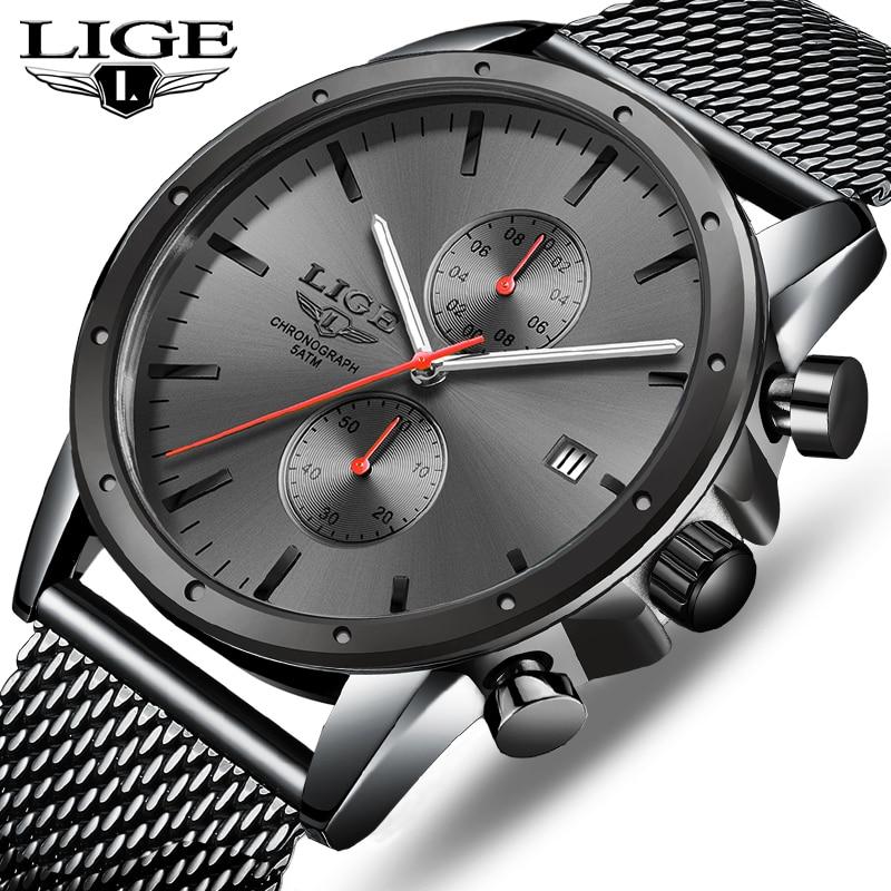 Mens Watches Top Luxury Brand LIGE Business Watch Men Chronograph Full Steel Waterproof Analog Quartz Wristwatch Male Clock+Box