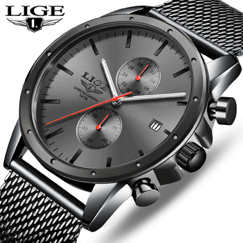 Mens Watches Top Luxury Brand LIGE Business Watch Men Chronograph Full Steel Waterproof Analog Quartz Wristwatch Male Clock+Box benyar men watch top brand luxury quartz watch mens sport fashion blue analog leather male wristwatch waterproof clock