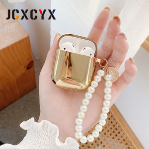 Image 3 - Gold plating pearl coin bracelet keychain chain Wireless Headset bluetooth soft case for Apple AirPods 1 2 cover for airpods pro