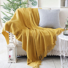 Large Size Knitted Throw Travel Blanket Grey Yellow Black Grey Sofa Throw Blanket Tassels Air Condition Blanket Diamond Acrylic native american inspired wave stripe knitted throw blanket