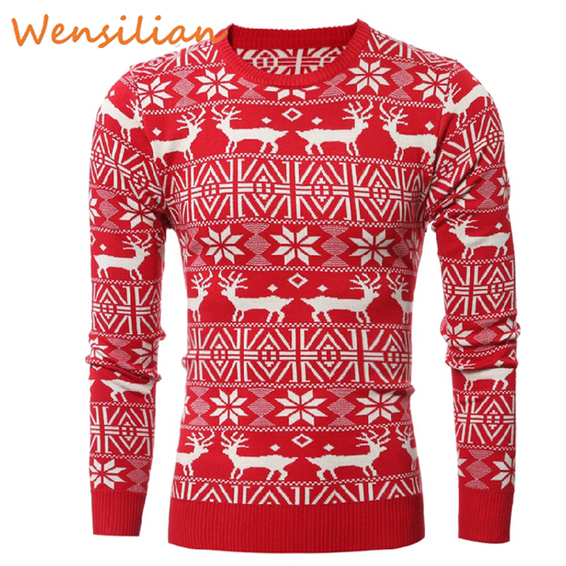 Men Christmas Knitted Sweaters Elk Pullovers O Neck Jumper Thick Deer Winter Knitwear Top Clothing Clothes Pull Homme Hiver 2019