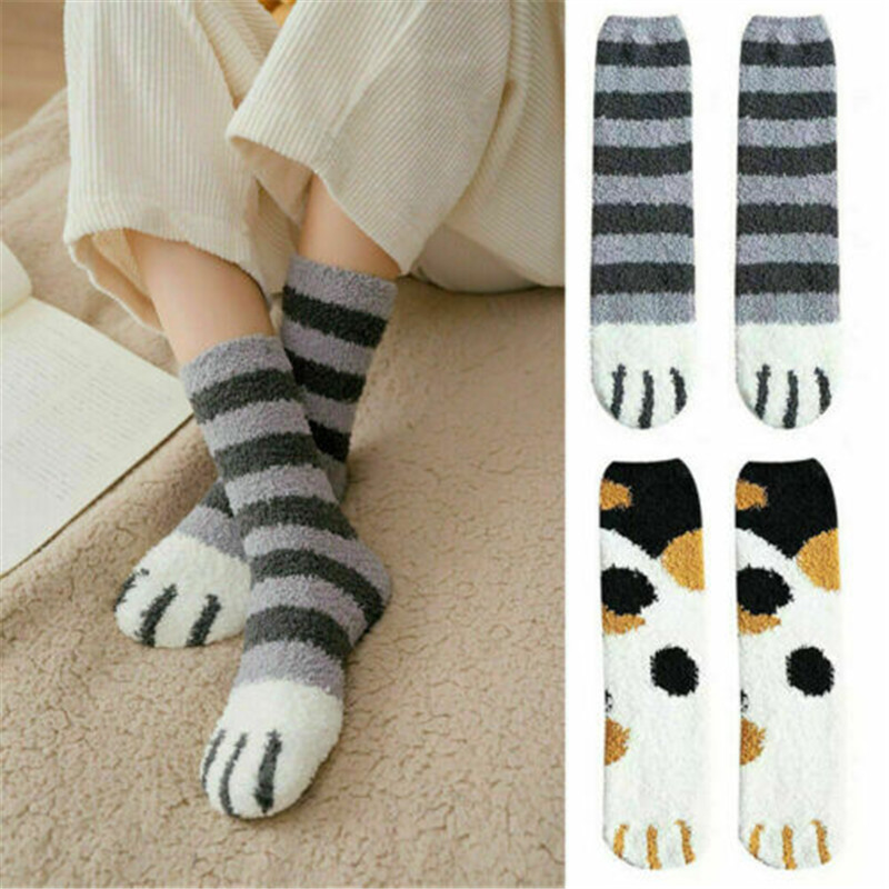 1 Pair Of Plush Coral Fleece Socks Female Tube Socks Autumn And Winter Cat Claws Cute Thick Warm Sleeping Floor Sleep Socks Lady