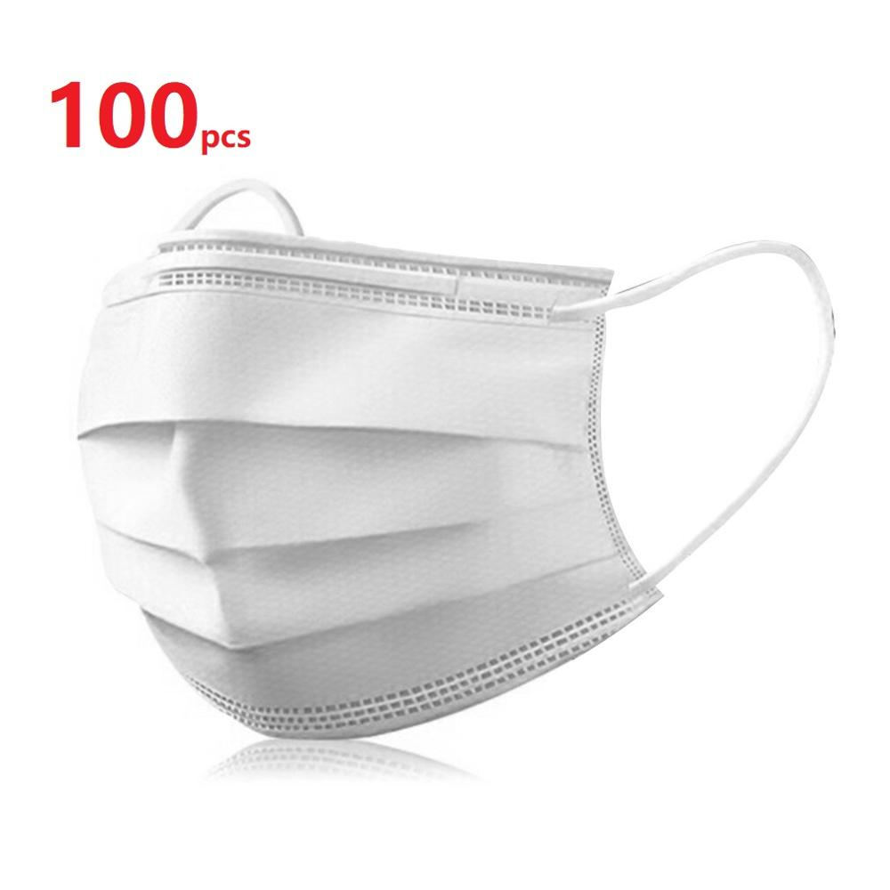 100Pcs Disposable Mask  Nonwove 3 Layer Ply Filter Mouth Face Mask Dust BFE95 Meltblown Mouth Masks|Masks| |  - title=
