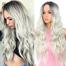 Peluca de pelo largo ondulado para mujer, pelo sintético degradado, rubio platino, Natural, fibra de alta temperatura, Cosplay, Riversa