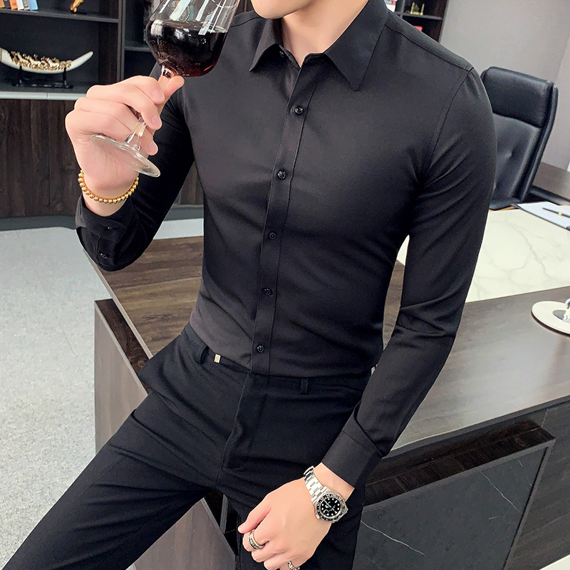 2019 Autumn And Winter British Style Shirt Youth Men Fashion Casual Long-sleeve Blouse Korean-style Slim Models