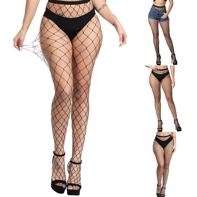 Women Sexy Transparent Slim Fishnet Pantyhose 2020 Nightclub Net Holes Black Tights Thigh High Stockings Small