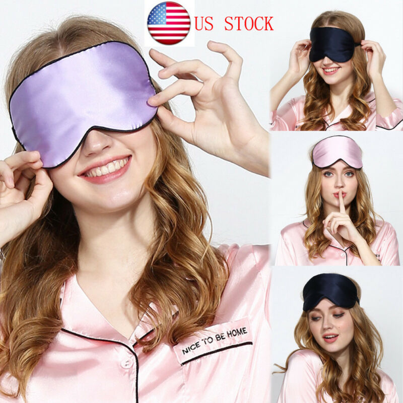 Women Eye Mask Satin Soft Padded Travel Night Sleeping Blindfold Sleep Aid Shade Cover 10Colors
