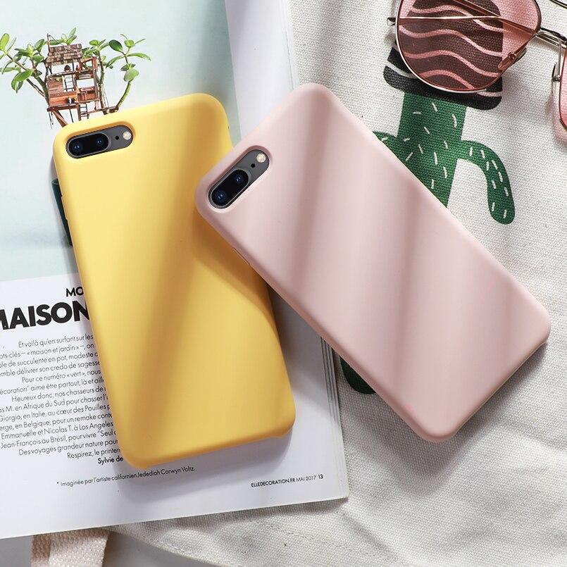 Original Silicone Case For iPhone 7 8 Xs Max Luxury Case Plain Color Silicon Cover For iPhone 6 6s Plus X XR Funda Coque Capas