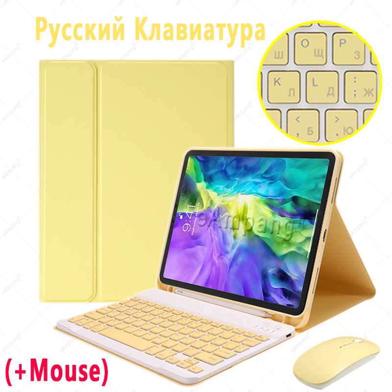 Russian with Mouse Orange For iPad Air4 10 9 2020 A2324 A2072 Keyboard Mouse Case English Russian Spanish Korean Keyboard