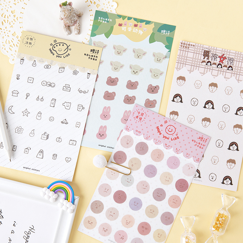 Mohamm 1PCS Daily Mood Series Kawaii Cute Cartoon Girl Boy Animal Emotion Smile Sticker Scrapbooking School Supplies Stationery