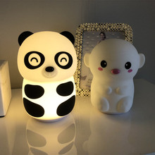 Cute Panda LED Night Light Touch Sensor 2 Colors Dimmable USB Rechargeable Desk Lamp Bedroom Bedside for Children Baby Gift