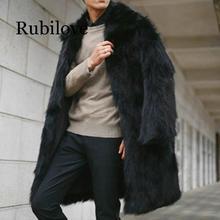 Rubilove Plus Size Fur Coat For Men 2019 Winter Furry Outerwear Gothic Black Faux Jackets Turn-down Collar Long Outerwea