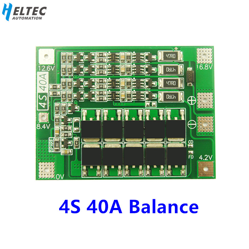 18650 BMS 4S 40A Li-ion Lithium Battery Charger PCB BMS Protection Board with Balance For Drill Motor 14.8V 16.8V Lipo image