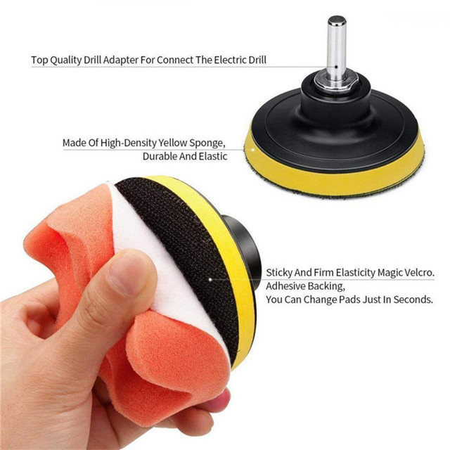 14pcs Car Polishing Kit Buffing Pad 1/3''/6mm Wheel Polishing Cone Car Body Wheels Body Wheel Care Tools Car Cleaning Tools J19 2