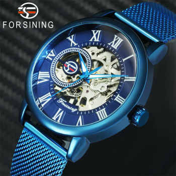 2019 FORSINING Blue Mens Watches Top Brand Luxury Skeleton Mechanical Watch Men Ultra Thin Mesh Strap Fashion Casual Wristwatch - DISCOUNT ITEM  50% OFF All Category