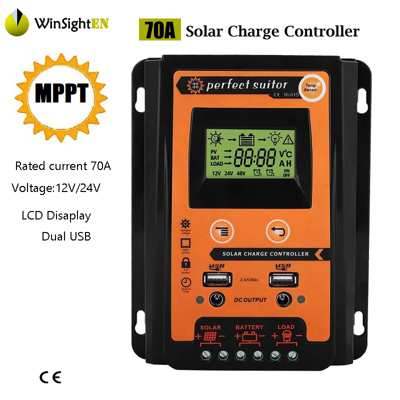 Charge Controller MPPT Solar Controller With LCD Disaplay Dual USB 5V Solar Cell Panel Regulator PV Home 70A 12V 24V