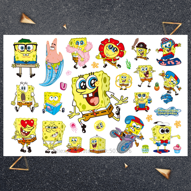 Hasbro SpongeBob Children Cartoon Temporary Tattoo Sticker For Boys Cartoon Toys Waterproof Party Kids Gift