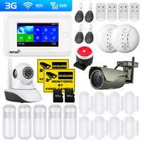 PG106 2G 3G GSM WiFi sistema de alarma de seguridad para el hogar soporte de cámara IP Control de aplicación tarjeta RFID cámara exterior Sensor de humo alarma de movimiento