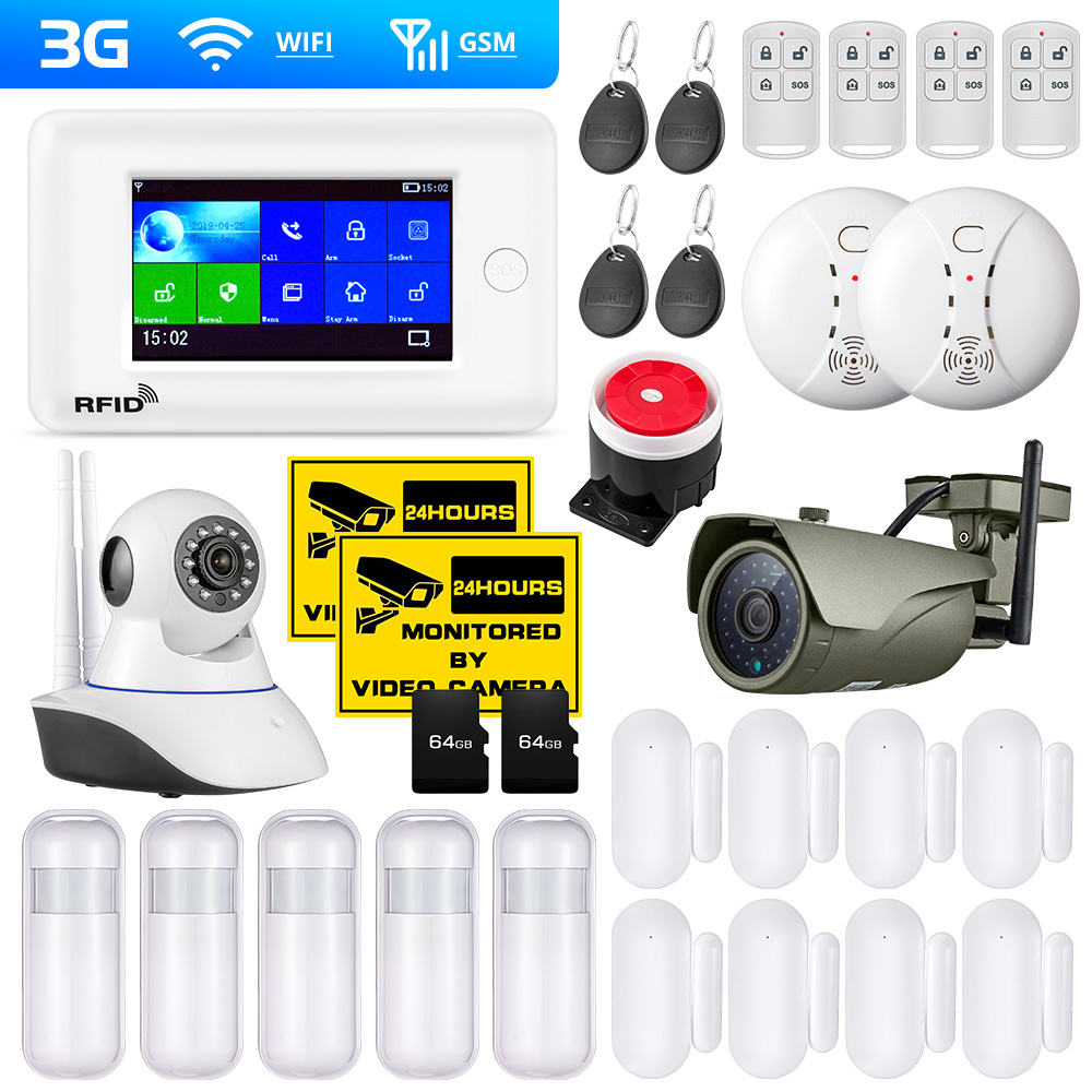 PG106 3G GSM WiFi Home Security Alarm System IP Camera Support App Control RFID Card Outdoor Camera Smoke Sensor Motion Alarm