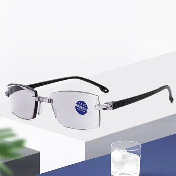 Anti Blue Light Reading Eyeglasses Magnification Eyewear Presbyopic Glasses Bifocal Farsighted Diopter Dimond Cutting+1.0To+4.0 image